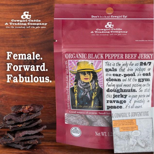 Cowgirl Cattle Organic Cracked Black Peppercorn Beef Jerky Gluten Free