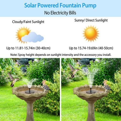 Solar Powered Fountain Pump Floating Bird Bath Pond Pump