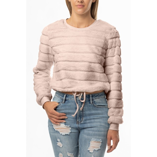 Almost Famous Fuzzy Fur Crew Neck Drawstring Waist Pullover