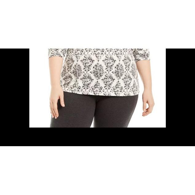 Karen Scott Women's Printed Mock Neck Top Medium Gray Size 3X