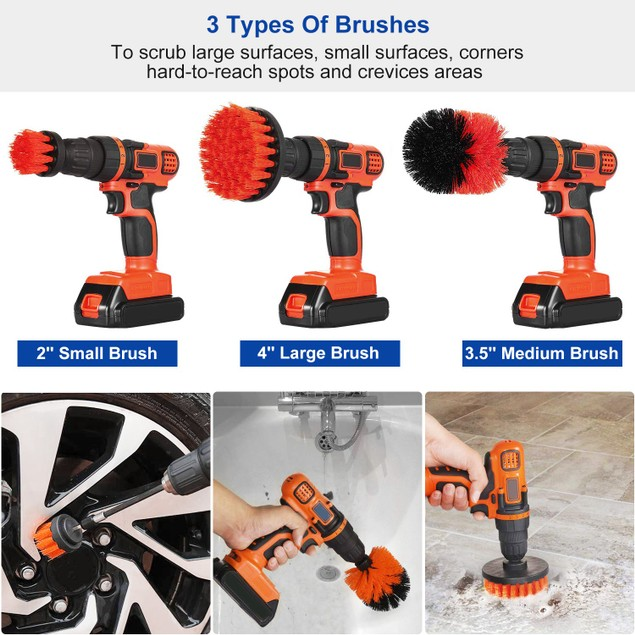 3Pcs/Set Drill Brush Power Scrubber Cleaning Brush