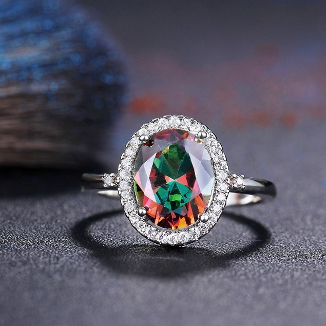 Crystal Round Engagement Ring