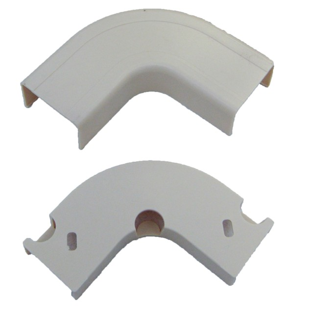 1.75 inch Surface Mount Cable Raceway, Ivory, Flat 90 Degree Elbow