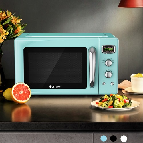 Costway 0.9Cu.ft. Retro Countertop Compact Microwave Oven 900W 8 Cooking Se