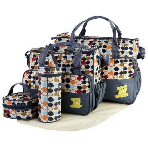5PCS Baby Nappy Diaper Bags Set Travel Tote Bags For Mom Dad
