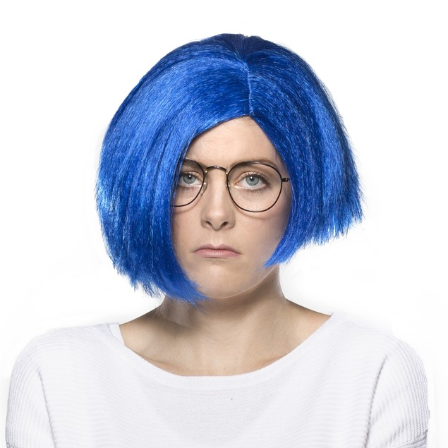 Sad Wig Blue Sadness Inside Out Pixar Movie Hair Cosplay Costume Halloween