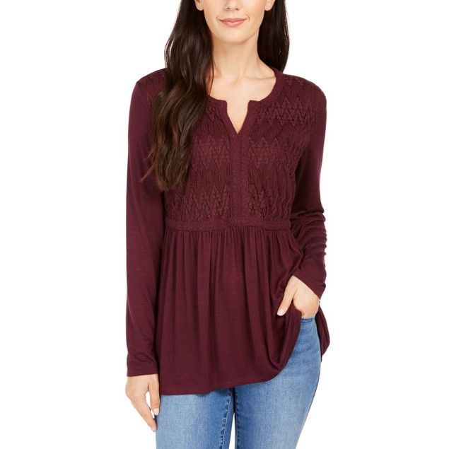 Style & Co Women's Lace-Front Draped Top Wine Size Small
