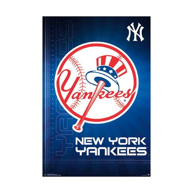 New York Yankees Logo Poster 24 x 36 NYY NY MLB Baseball Hat Bat