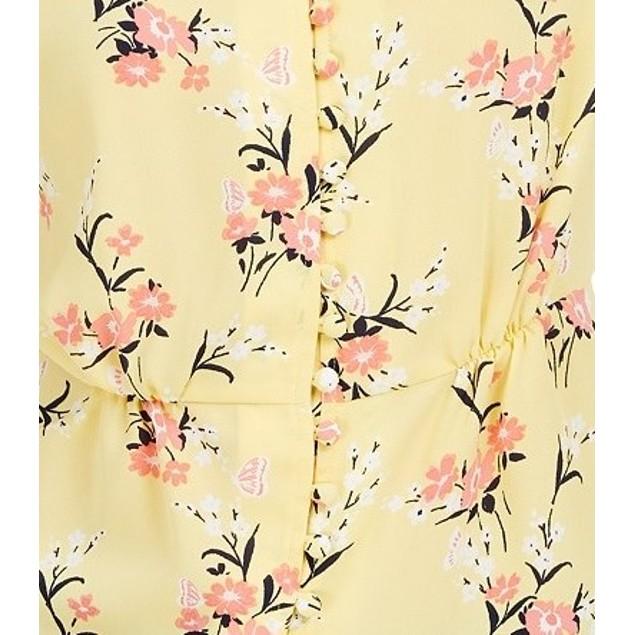 Maison Jules Women's Floral-Print Split-Sleeve Top Yellow Size Medium