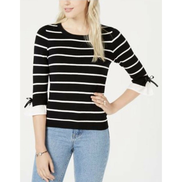 Maison Jules Women's Striped Puff-Sleeve Sweater Black Size 2 Extra Large