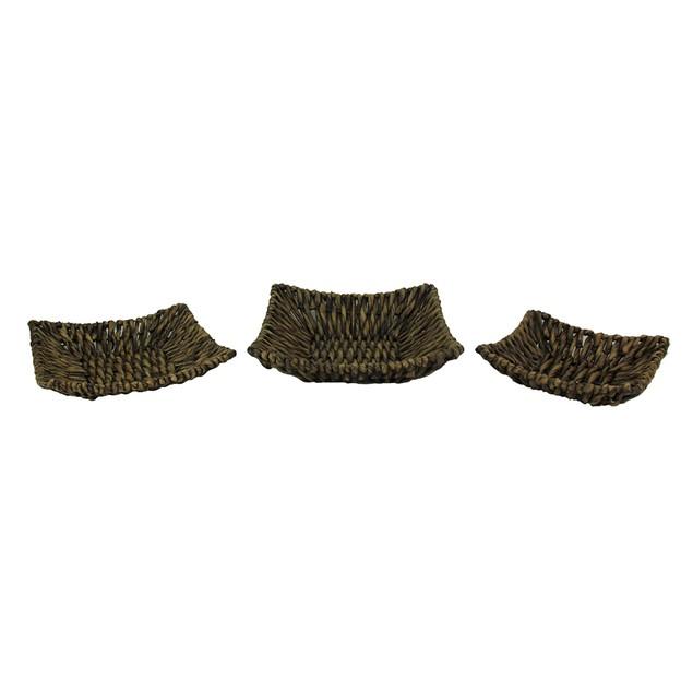 Set Of Three Woven Seagrass Decorative Trays Decorative Trays
