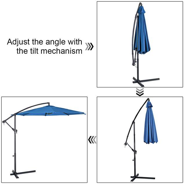 Costway 10' Hanging Umbrella Patio Sun Shade Offset Outdoor Market W/t Cros
