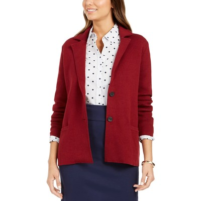 Charter Club Women's Sweater Blazer Jacket Medium Red Size Small
