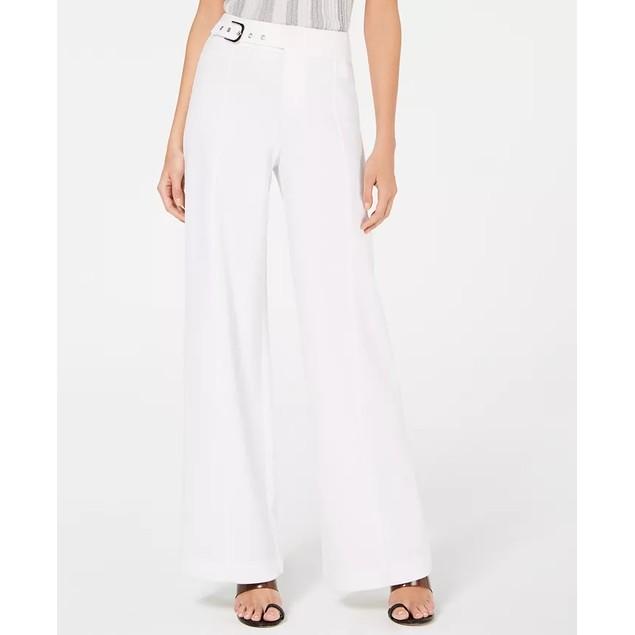 INC International Concepts Women's Side Belt Wide Leg Pants White Size 12