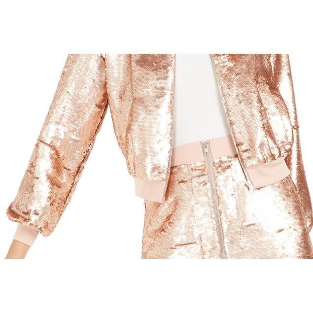 Bar III Women's Becca Tilley x Sequin Bomber Jacket Pink Size Extra Small