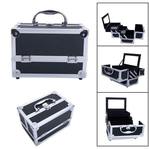 NEW Lockable Makeup Train Case Extendable Cosmetic Jewelry Box Organiz