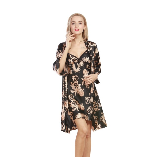 Paisley Print Nightgown with Robe