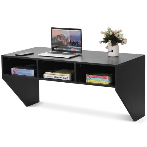 Costway Wall Mounted Floating Computer Table Sturdy Desk Home Office Furni