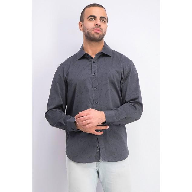 Tallia Men's Slim Fit Stretch Paisley Shirt Black Size Medium