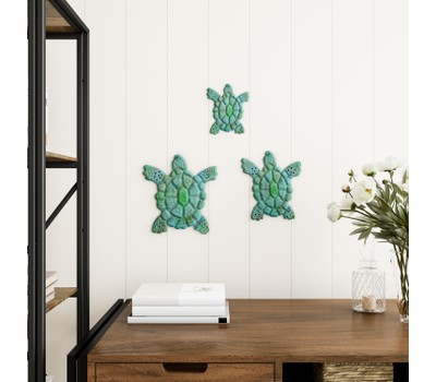 Sea Turtle Wall Art- Nautical 3D Metal Hanging Dcor-Vintage Coastal Seaside Inspired Style-Under Water Sea Life Ocean by Lavish Home 3PC Was: $31.99 Now: $16.49.