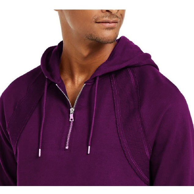 INC International Concepts Pieced Quarter-Zip Hoodie Purple Large
