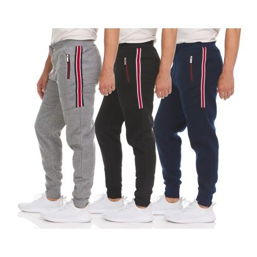 Men's Soft Fleece Athletic Jogger Sweatpants with Zipper Pockets