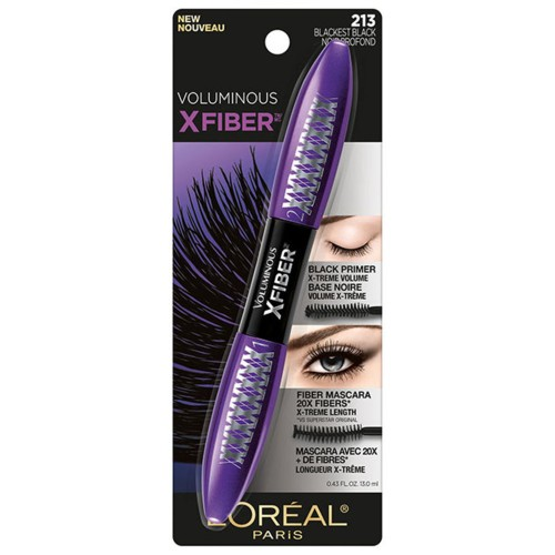 L'Oréal Paris Voluminous X Fiber Washable Mascara, Blackest Black, 0.43 Fl