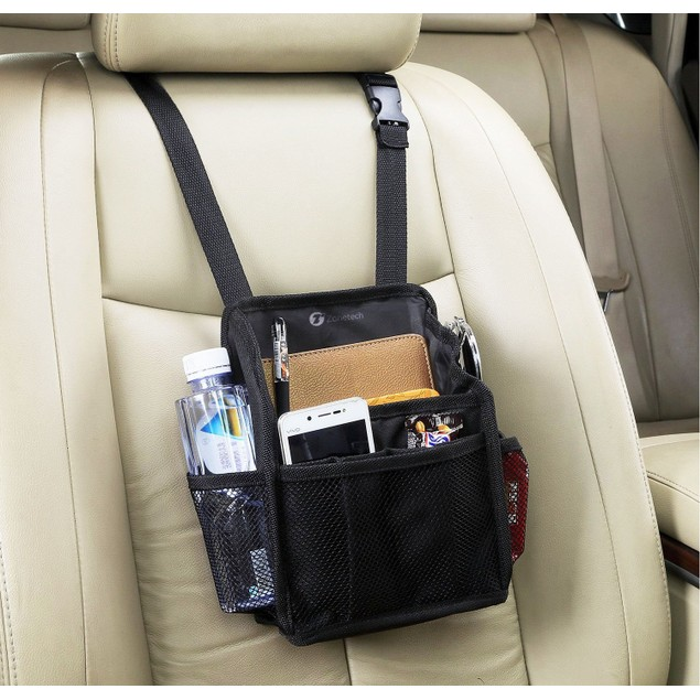 Zone Tech 7 Pocket Black Compact Car Seat Swinging Organizer