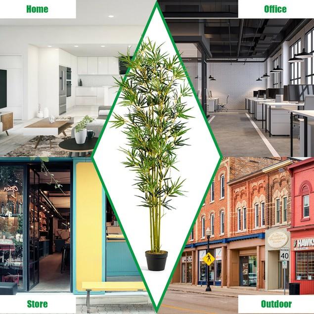 Costway 6 ft Artificial Bamboo Silk Tree Indoor Outdoor Home Office Decorat