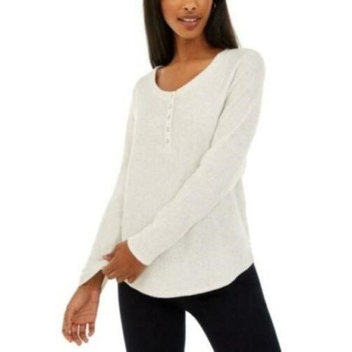 Hippie Rose Juniors' Women's Henley Top White Size Small