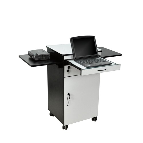 """Luxor 38"""" Multimedia Workstation with Pullout and Cabinet - Wood"""