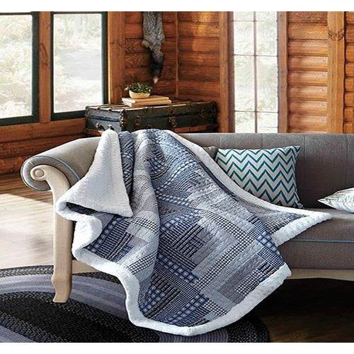 Spura Home Montana Cabin Blue & Gray Patchwork Quilted Sherpa Throw Blanket