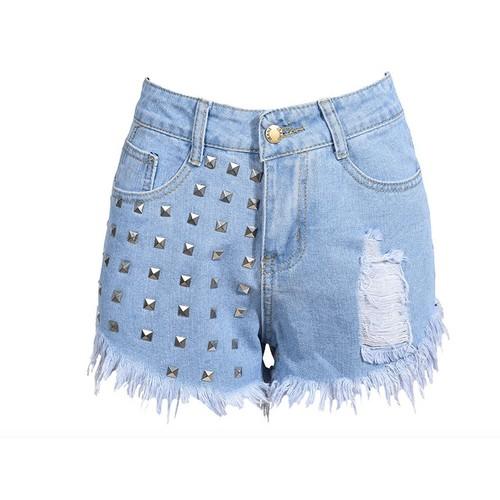 Women Fashion High Waist Metal Rivets Studded Ripped Denim Short