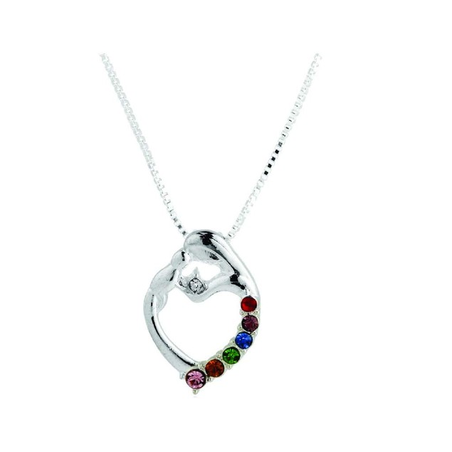 Novadab Mother And Child Silver Gem Abstract Necklace