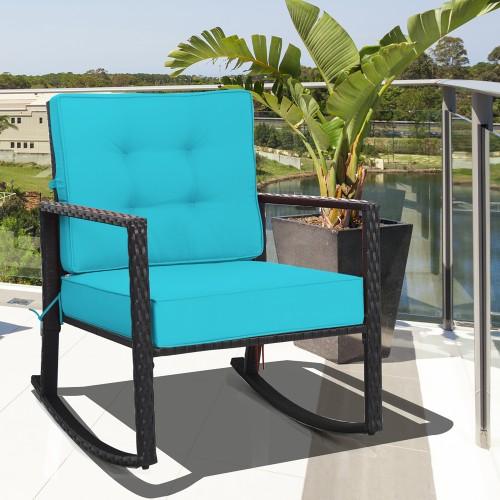 Costway Patio Rattan Rocker Chair Outdoor Glider Rocking Chair Cushion Lawn