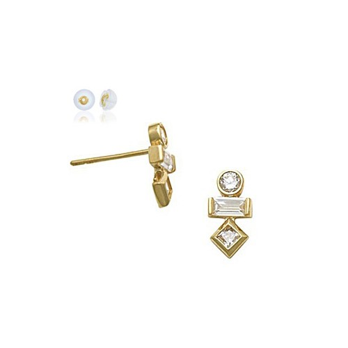 10K Solid Yellow Gold Round, Marquise & Square Baguettes Zircon Earrings