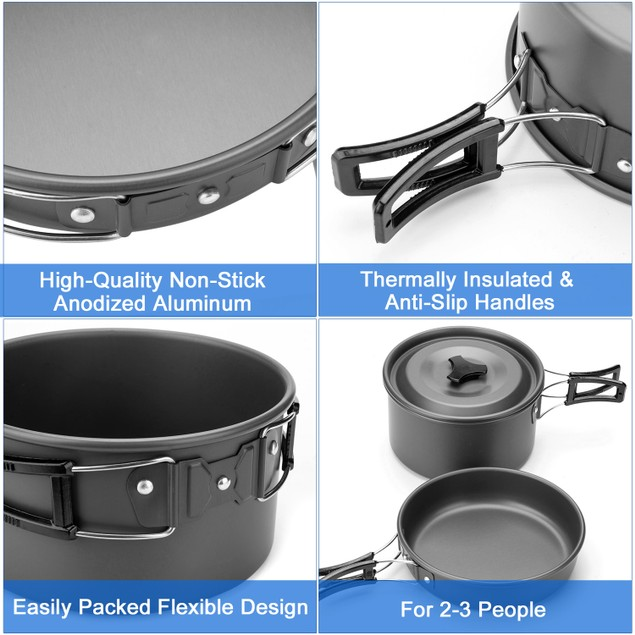 ODOLAND 10PCS CAMPING COOKWARE MESS KIT LIGHTWEIGHT HIKING AND PICNIC