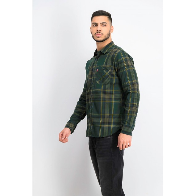 Levi's Men's Malden Plaid Shirt Green Size Medium