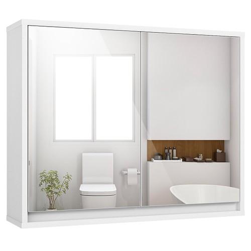 Costway Wall Mounted Bathroom Storage Cabinet Organizer Shelf W/Double Mirr