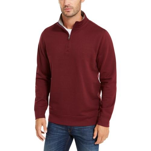 Club Room Men's Stretch 1/4-Zip Fleece Sweatshirt Red Size Small