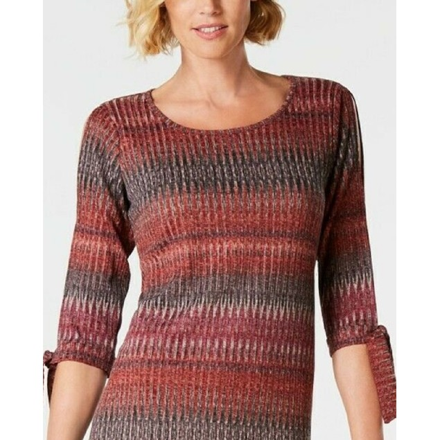 John Paul Richard  Women's Cold Shoulder Knit Dress Red Size Small