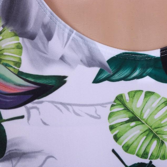 Women One Piece Swimsuit Push-Up Padded BraPrint Backles Swimwear Jumpsuit