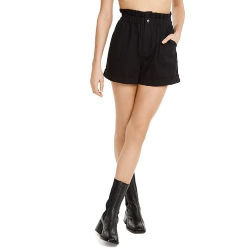 Danielle Bernstein Women's Paperbag Waist Shorts  Black Size Extra Large
