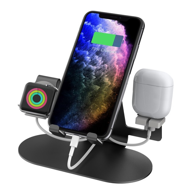 Aduro 3-in-1 Aluminum Charging Stand for Mobile Devices