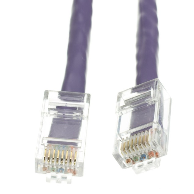 Cat6 Purple Ethernet Patch Cable, Bootless, 2 foot