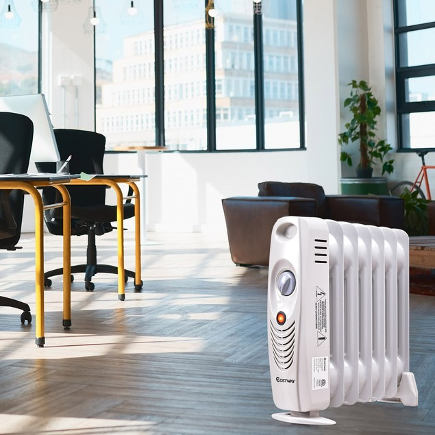 Costway 700 W Portable Mini Electric Oil Filled Radiator Heater 7-Fin Therm