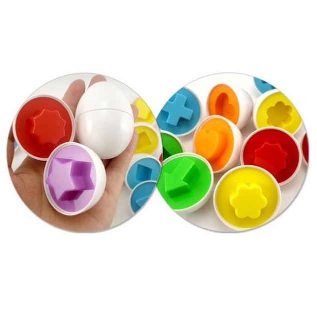 Kids 6-Piece Egg Puzzle Matching Shapes Toy