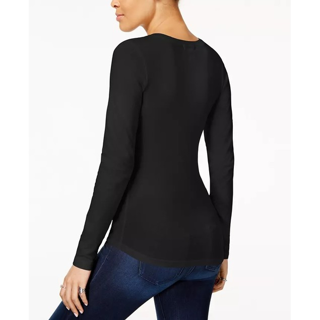 Planet Gold Juniors' Long-Sleeve T-Shirt Black Size Small