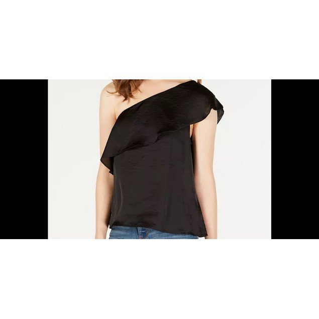 Material Girl Junior's Ruffled One Shoulder Top Black Size Small