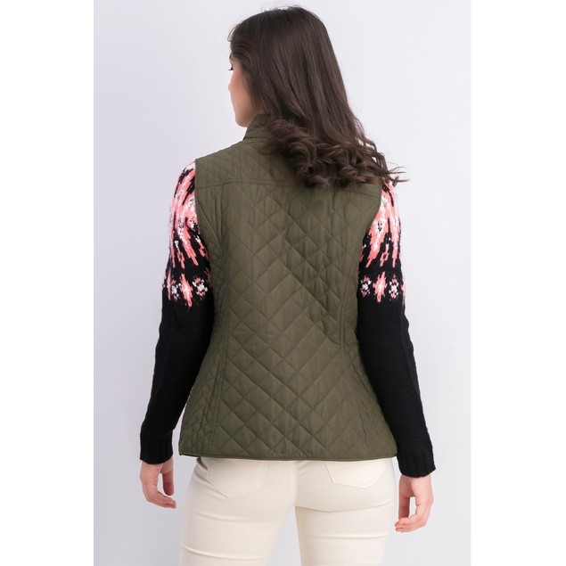 Charter Club Women's Quilted Stand-Collar Vest Dark Green Size Extra Small